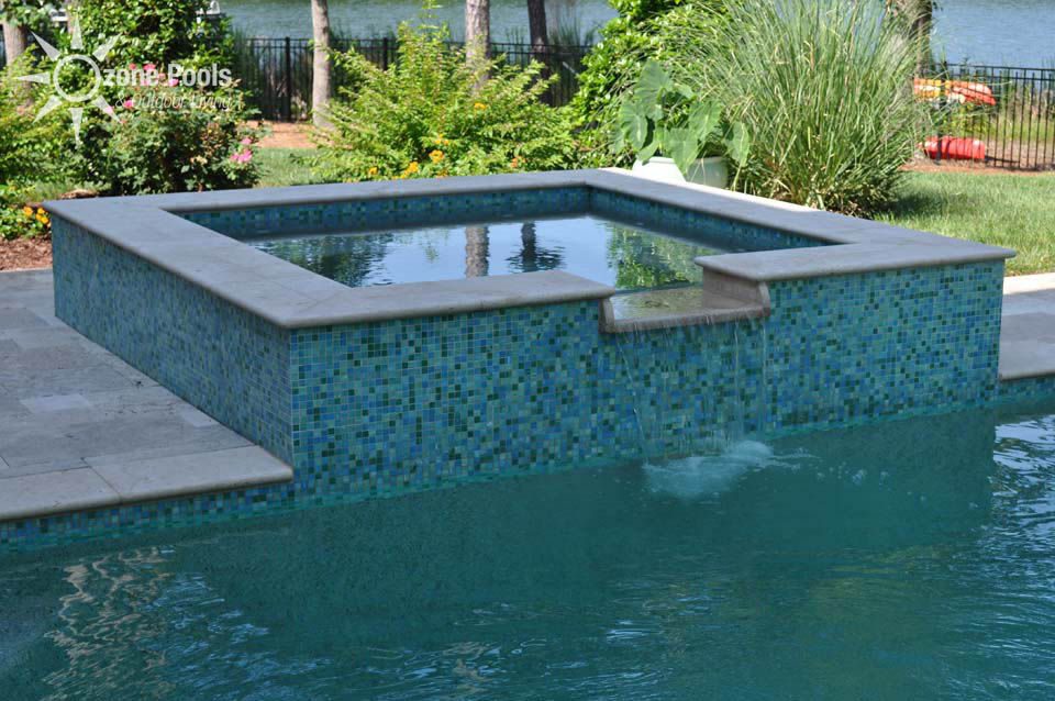 rectangular pool spa with glass tile - Rectangle Pool With Spa