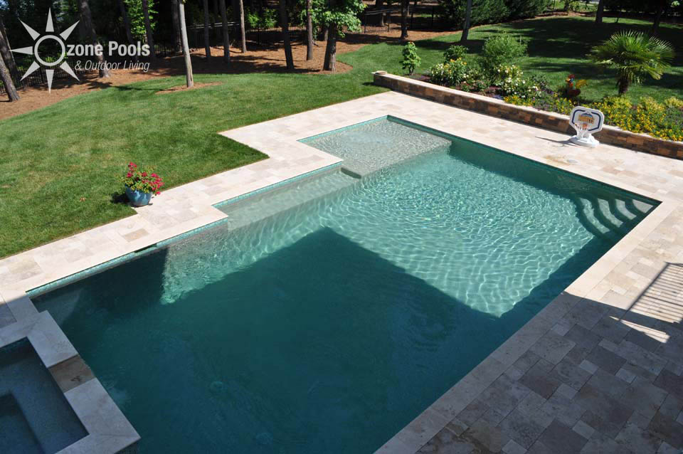 Rectangle Pool With Spa rectangular pool & spa with glass tile