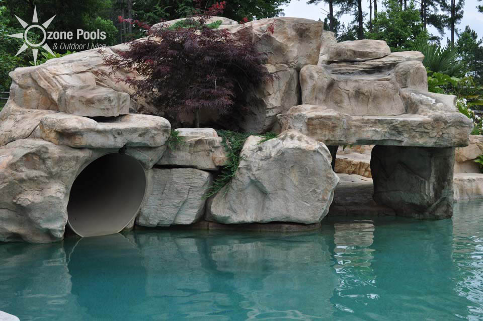 Lagoon Pool With Tube Slide And Rock Grotto