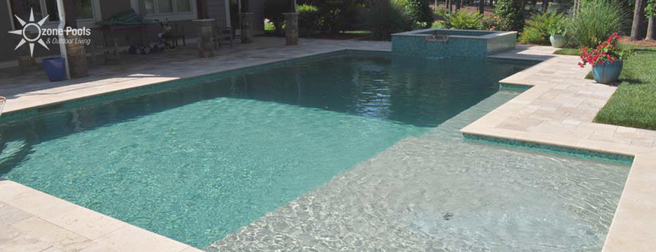 rectangular pool spa with glass tile