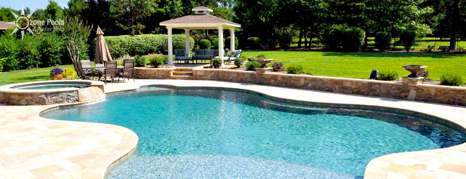 Freeform Pool & Spa with Travertine & Fire Features
