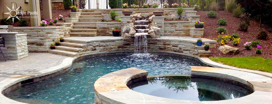 Freeform Pool & Spa with Natural Stone Waterfall