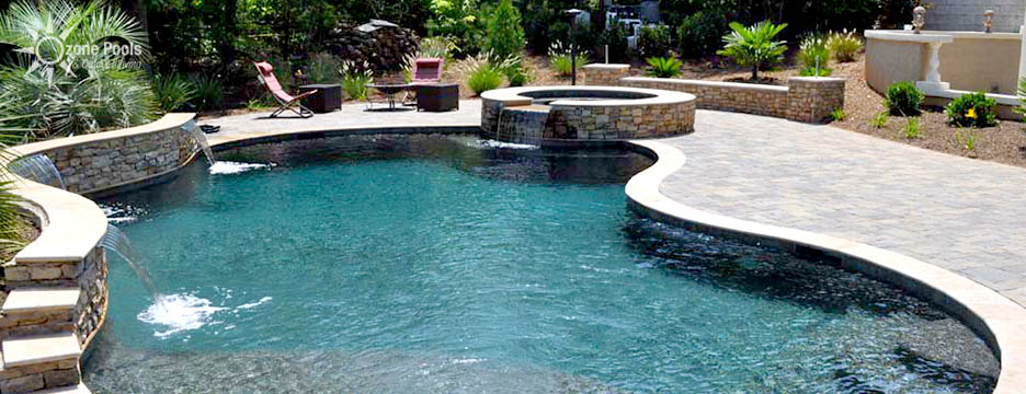 Freeform Pool & Spa with Paver Decking